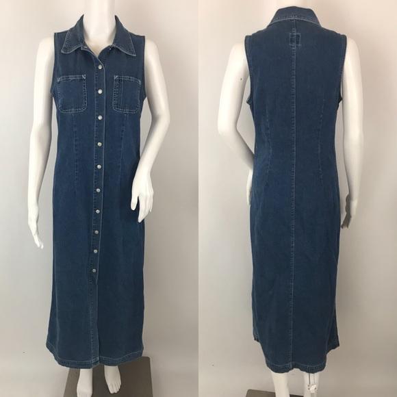 23191193e2a GAP Dresses   Skirts - Gap Denim Dress Maxi Vintage 90s Jean Button Up